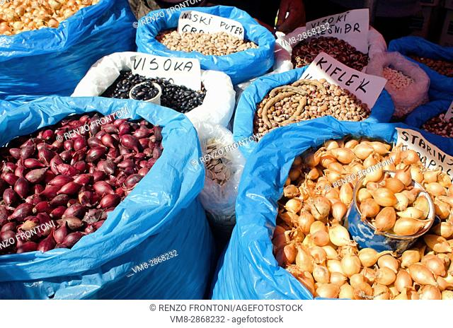 Dolac market with vegetable and dry pulses stall, Zagreb, Croatia
