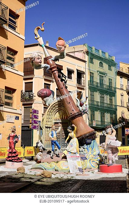 Falla scene with Papier Mache figures in the streets of the Carmen district during Las Fallas festival