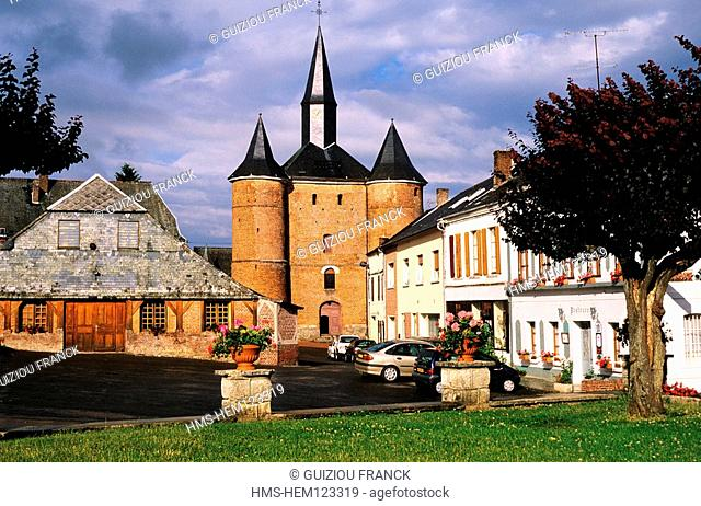 France, Aisne, Thierache region, the fortified church of Plomion