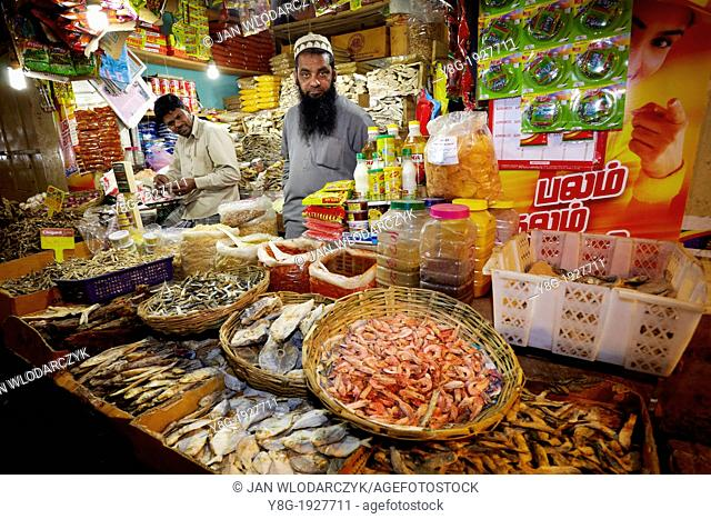 Sri Lanka - dried and salted fish selling at the market, Nuwara Eliya, Kandy province, central region of Sri Lanka
