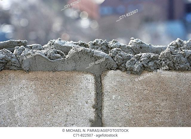 Concrete/cement block with concrete on top