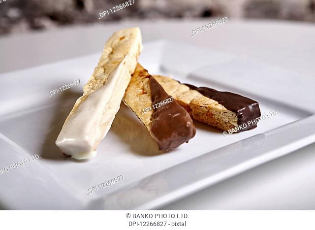 Chocolate dipped biscotti; Ontario, Canada