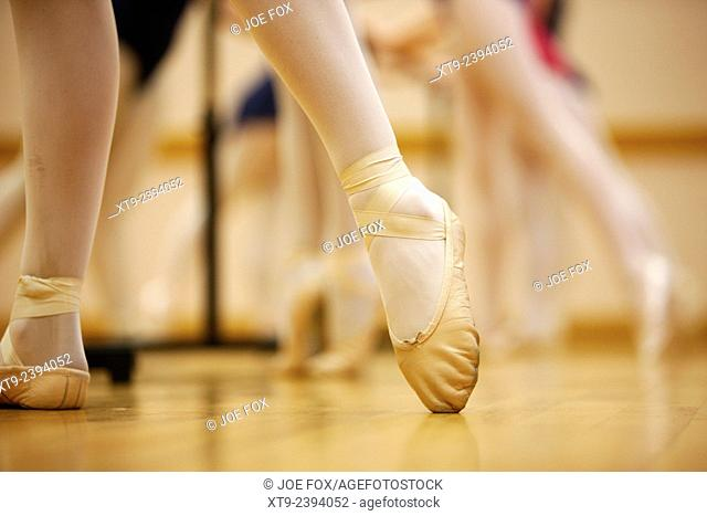 pointed toe in ballet slippers at a ballet school in the uk