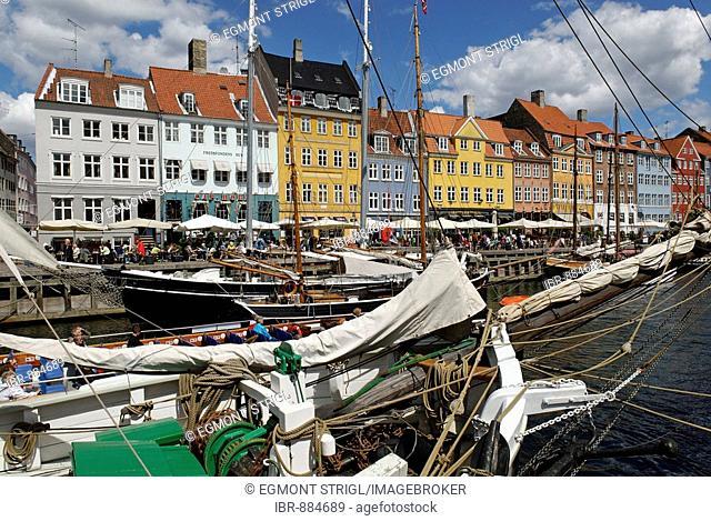 Historic boats in Nyhavn, Copenhagen, Denmark, Scandinavia, Europe