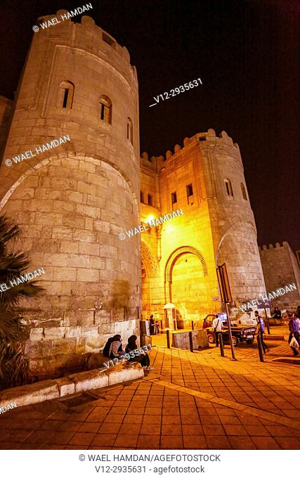 Bab al Futuh or Gate of Conquests on the city walls of Islamic Cairo Egypt