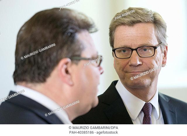 German Foreign Minister Guido Westerwelle (R) meets Foreign Minister of Lithuania, Linas Antanas Linkevicius, for political talks at cloister Pazaislis in...