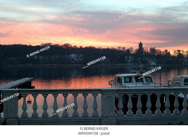 footbridge Tiefer lake, Germany