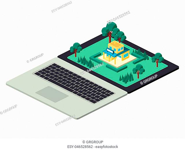 building and trees isometric scene on laptop vector illustration design