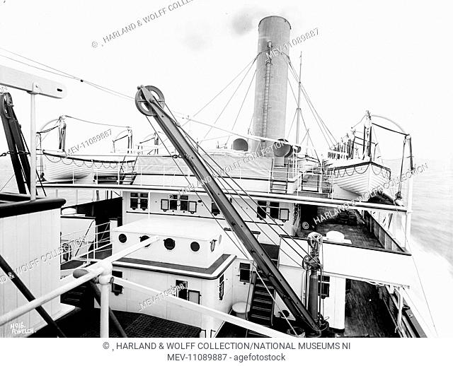 View aft from island bridge to passenger superstructure, promenade decks and funnel at sea. Ship No: 367. Name: Aragon. Type: Passenger Ship