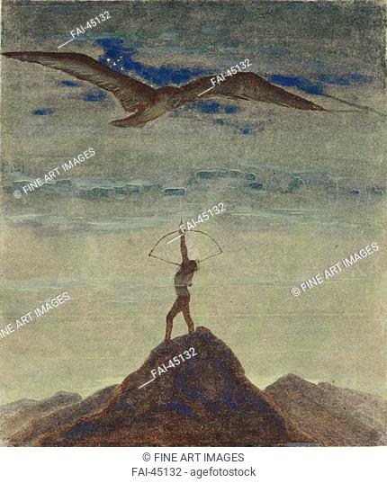 The Sign of Sagittarius (From the Cycle Zodiac) by Ciurlionis, Mikalojus Konstantinas (1875-1911)/Tempera on paper/Symbolism/1906-1907/Lithuania/State M