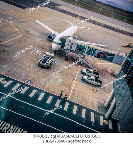 Passenger jet. Loading and getting ready for departure. Cape Town International Airport