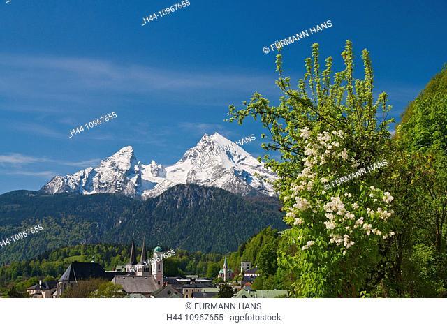 Bavaria, Germany, Upper Bavaria, Berchtesgaden country, Berchtesgaden, sky, blue sky, Alps, mountains, cliff, panorama, summit, peak, Watzmann, church, steeple