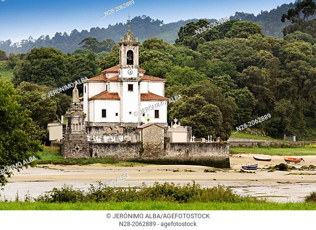 Niembro cemetery and church at low tide, Way of St James, Asturias, Spain