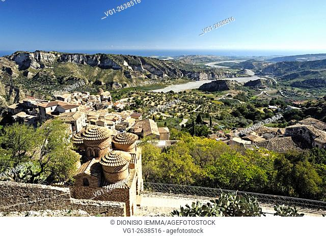 View of the village, in the foreground La Cattolica, Byzantine Church, in the background the Ionian coast, Stilo Calabria, Italy, Europe