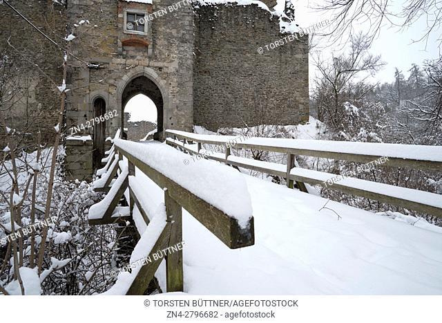 Bridge and Entrance to Castle Ruin Schaunberg in Winter, Hartberg, Austria