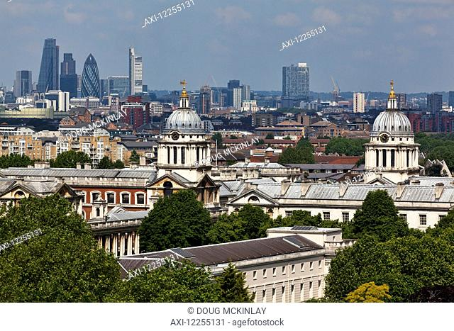 Elevated view across the City of London and Old Royal Naval College from Greenwich Park; London, England