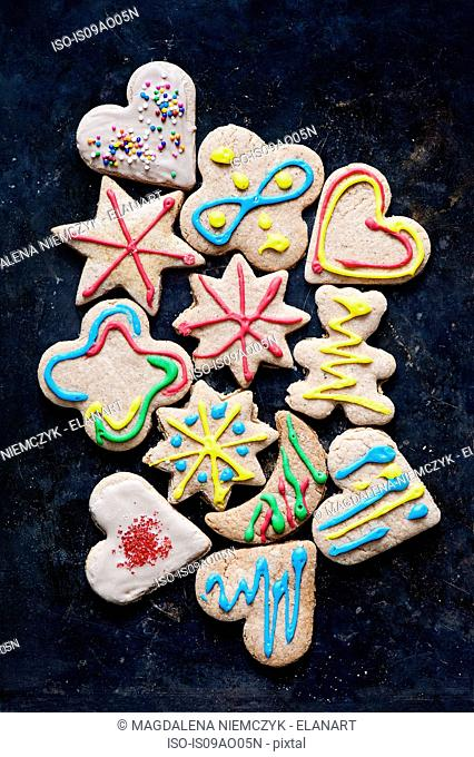 Still life with variety of decorated gingerbread cookies