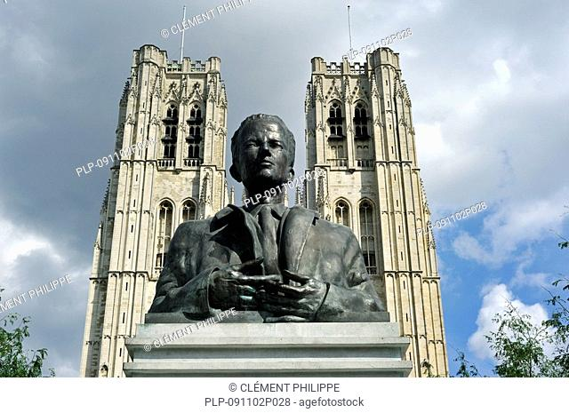 Statue of King Baudouin and the Saint Gudule and Saint Michael's Cathedral, Brussels, Belgium