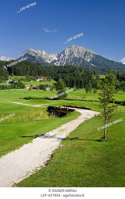 Golf course near Windischgarsten, Haller Mauer, Grosser Pyhrgas, Northern Limestone Alps, Upper Austria, Austria