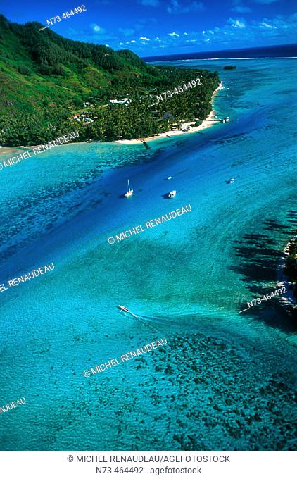 Moorea Island, aerial view. French Polynesia