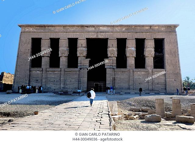 Dendera Egypt, ptolemaic temple dedicated to the goddess Hathor.The general view