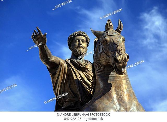 Statue of Marcus Aurelius in Piazza del Campidoglio, Rome, Italy