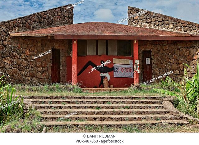CHILE, HANGA ROA, 15.03.2010, Tongariki Cultural Center building decorated with traditional Birdman Cult religious symbols located in the small town of Hanga...