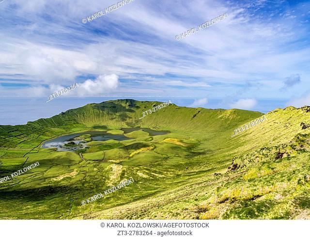 Portugal, Azores, Corvo, Landscape of the Caldeirao do Corvo