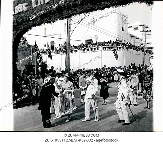 Nov. 27, 1953 - 27-11-53 Queen in Hamilton, Bermuda ?¢'Ǩ'Äú Visits House of Assembly. Keystone Photo Shows: The scene as H.M