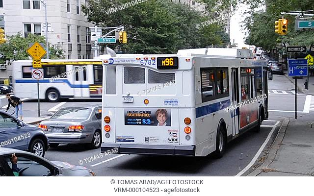 MTA public transportation bus traversing Central Park, New York City