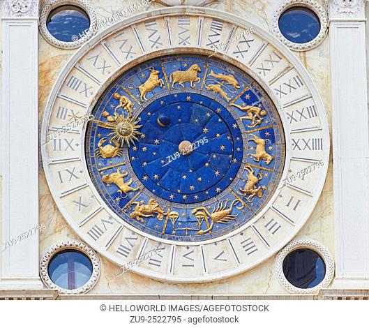 Torre Dell'Orologio dates from the 1490's, shows the 24 hours of the day, signs of the zodiac and has a mechanical configuration of sun, moon and earth