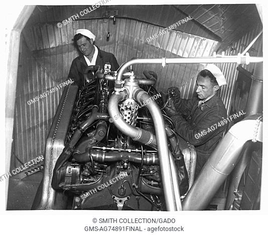Photograph of engine room in a dirigible, 1933. Image courtesy National Archives