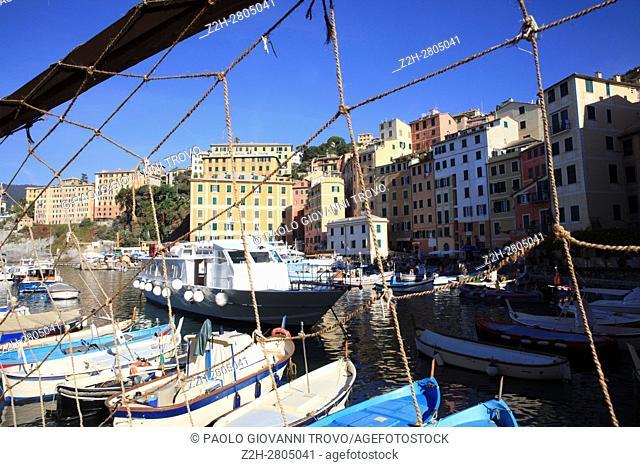 The fishing village of Camogli, Gulf of Paradise, Portofino National Park, Genova, Liguria, Italy