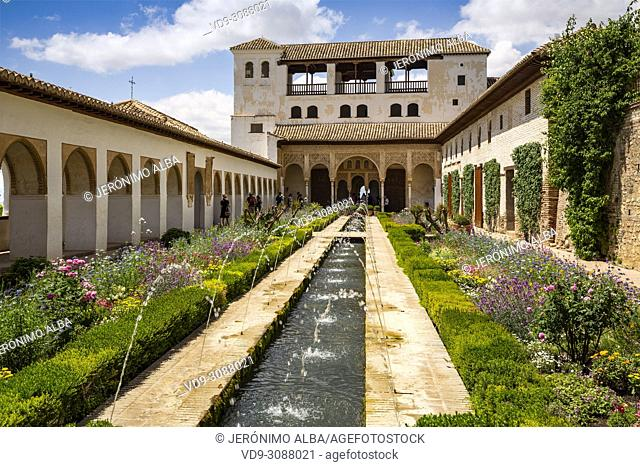 Patio de la Acequia, Generalife Palace gardens. Alhambra, UNESCO World Heritage Site. Granada City. Andalusia, Southern Spain Europe