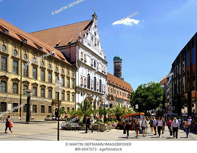 Michaelskirche and church tower from the cathedral, pedestrian zone, Neuhauser Straße, old town, Munich, Upper Bavaria, Bavaria, Germany