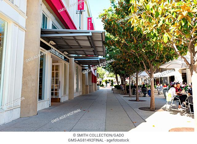 Main thoroughfare, with stores including Bare Minerals and American Girl, at Stanford Shopping Center, a popular luxury shopping mall in the Silicon Valley town...