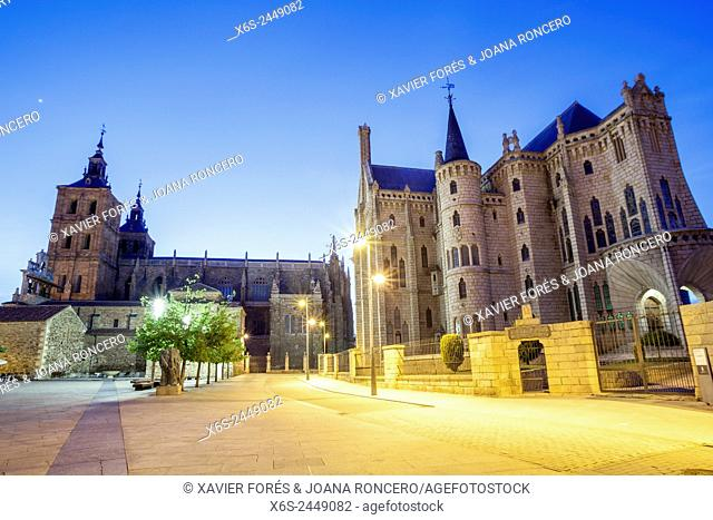 View of the Cathedral of Santa Maria and Episcopal Palace in Astorga, Way of St. James, Leon, Spain