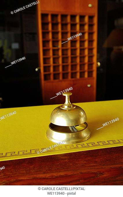 Service ring bell on a hotel desk reception, Paris, France
