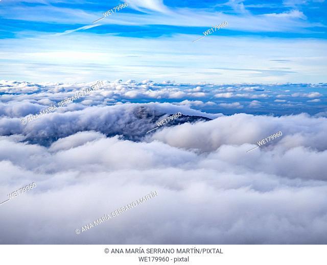 Landscape with a sea of clouds on the mountain in La Covatilla, Bejar (Salamanca)