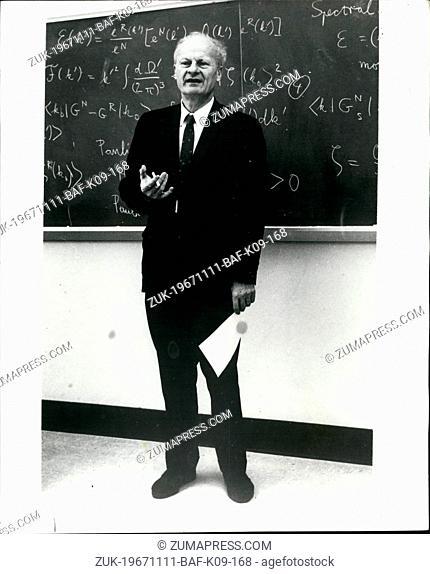Nov. 11, 1967 - Professor Bethe awarded nobel prize for physics.: Professor Hand Albrecht Bethe, Theoretical phsicist, Professor of Physics at Cornell...
