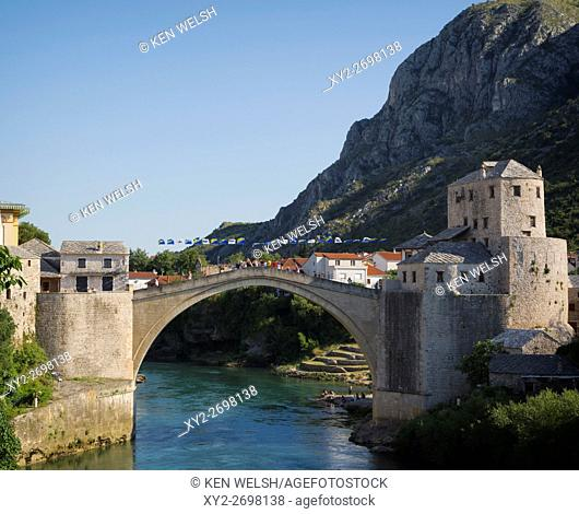 Mostar, Herzegovina-Neretva, Bosnia and Herzegovina. The single-arch Stari Most, or Old Bridge, crossing the Neretva River
