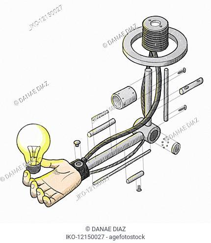 Disassembled robotic arm holding light bulb