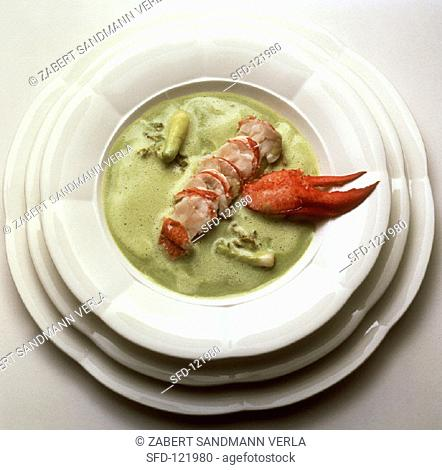 Lobster with fresh pea sauce