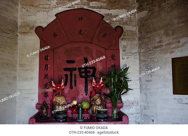 Altar housed in Tsui Sing Lau pagoda pagoda of Gathering Stars, Ping Shan, New Territories, Hong Kong