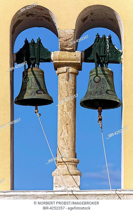 Bells in the bell tower, monastery of Panagia Theotokos tis Paleokastritsas or Panagia Theotokos, Paleokastritsa, Corfu, Ionian Islands, Greece