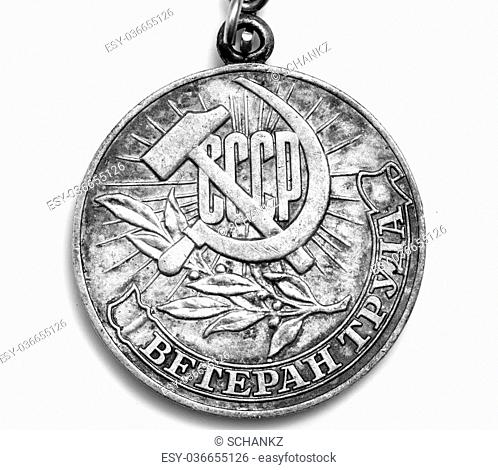 """Medal """"""""Veteran of Labour"""""""" isolated on a white background"""