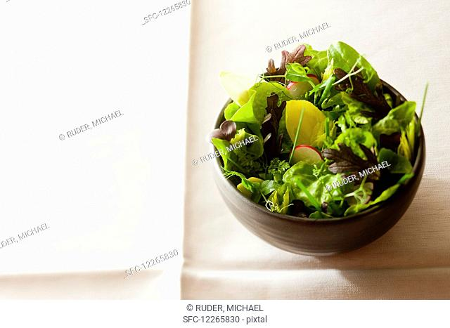 A mixed leaf salad with radishes
