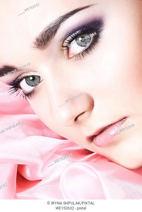 Beautiful face with eyes make-up
