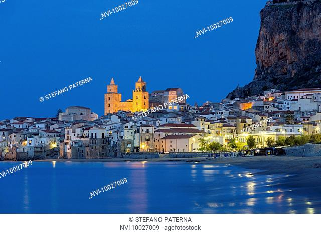 Fishing harbor and beach of Cefalù, Sicily, Italy