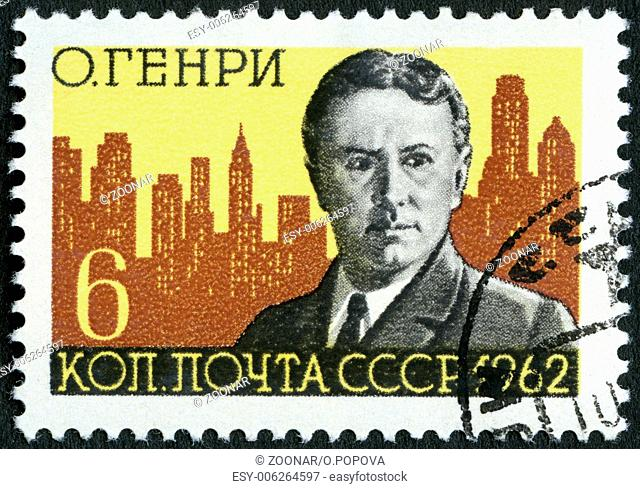 USSR - 1962: shows O. Henry and New York Skyline (William Sidney Porter, 1862-1910), American writer